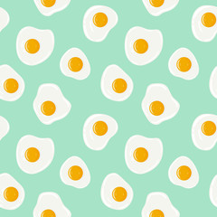 Fried eggs on turquoise background seamless pattern. Yummy breakfast. Vector hand drawn illustration seamless pattern.
