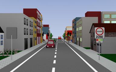 Hauptstraße mit dem Straßenschild Umweltzone frei (text in deutsch) Kreuzung, Ampel, Häusern und Autos. 3d render