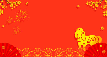 Wall Mural - Chinese New Year Background vector illustration. Blossom branches and dog with copy space. Paper cut style on red background