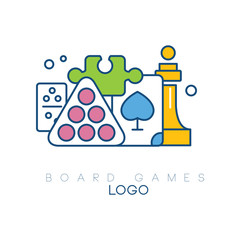 Abstract logo design with board games. Modern linear emblem with colorful fill. Billiard balls, chess piece, puzzle, domino and playing card. Creative vector design