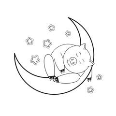 black outline cute pig sleeping on moon vector cartoon