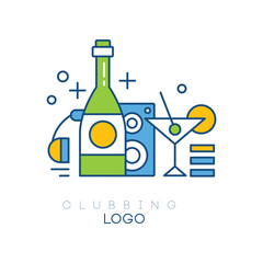 Colorful hobby logo template. Linear vector emblem with headphones, bottle with alcoholic drink, subwoofer and glass of martini with olive. Clubbing concept