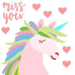 Happy Valentine cute unicorn flat illustration with hand written lettering miss you and hearts isolated on white.