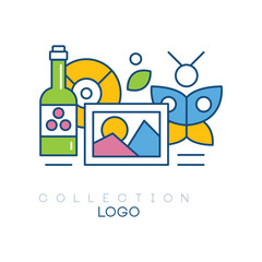 Original hobby emblem with bottle of wine, photograph, butterfly and vinyl record. Simple linear icon with colorful fill. Concept of collecting. Vector illustration