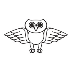 black outline owl spreading wings vector cartoon