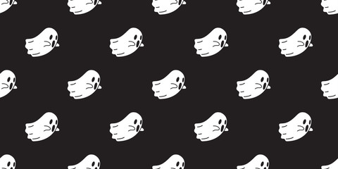 Ghost seamless pattern vector Halloween isolated spooky pumpkin cartoon wallpaper background black