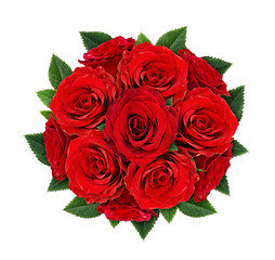 Red rose flowers in round bouquet