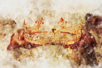 watercolor style and abstract image of lady holding gold crown. fantasy medieval period.