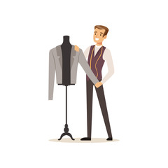 Male clothing designer or tailor working at atelier vector Illustration