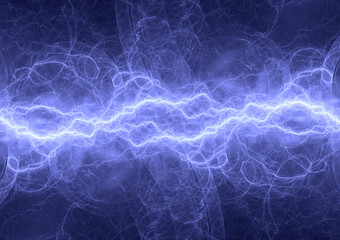 Blue plasma lightning bolt, abstract electrical background