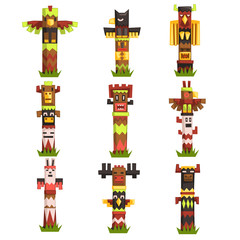 Traditional religious Totem Poles set, native culture tribal symbol, carved idol masks vector Illustrations