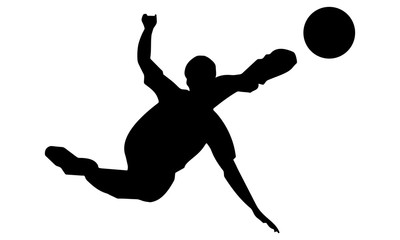 silhouette action of the player kicked the ball drift.