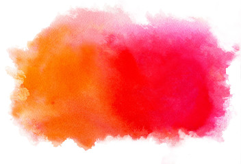 Watercolor abstract pink-red-orange spot. Isolated