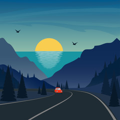 Trip in mountains. Cute small car rides on mountain road. Sea and sunset or sunrise on background. Vector illustration.