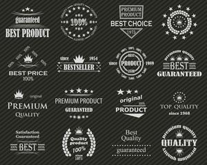 Premium quality labels set. Retro Vintage Design. Striped background