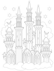 Black and white page for coloring. Fantasy drawing of Arab castle from a fairy tale. Worksheet for children and adults. Vector image.