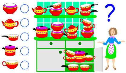 Logic exercise for children. Need to count the quantity of dishes and write the numbers in corresponding circles. Vector cartoon image.