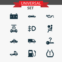 Car icons set with lorry, not key, truck and other van  elements. Isolated vector illustration car icons.