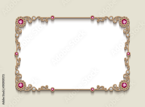 Rectangle frame with jewelry border wedding invitation card design rectangle frame with jewelry border wedding invitation card design stopboris Choice Image