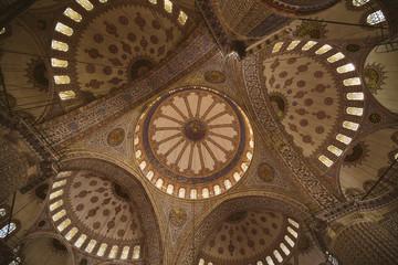 Interior Blue Mosque in Istanbul.