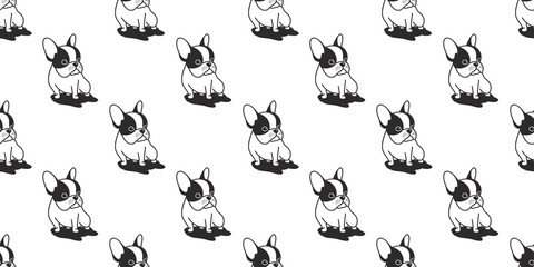 dog seamless french bulldog vector pattern pug isolated wallpaper background cartoon