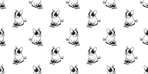 Dog seamless french bulldog vector pattern pug sitting dog bone isolated wallpaper background