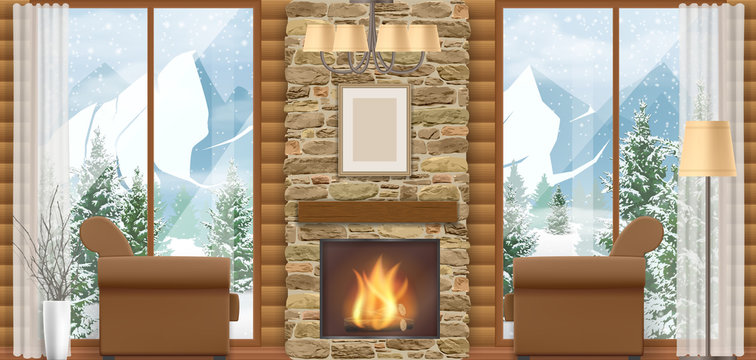 Luxury home interior with a fireplace and mountain view through the window. Vector illustration of a winter vacation.