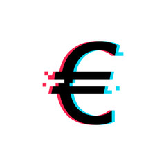 Euro glitch icon on white background.