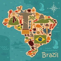 Map from traditional symbols of Brazil