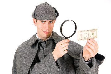 Sherlock: Confident Detective Examines Ten Dollar Bill