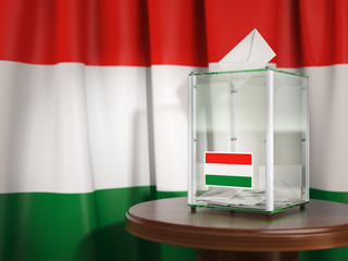 Ballot box with flag of Hungary and voting papers. Hungarian presidential or parliamentary election.