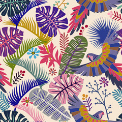 Vector seamless pattern with palm leaves and parrots. Vector tropical wallpaper. Bright colorful botanical backdrop