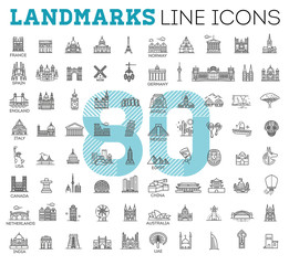 Simple linear Vector icon set representing global tourist landmarks and travel destinations for vacations