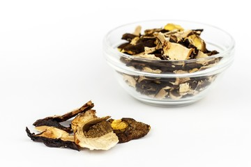 Dried mushrooms on a white background. Aromatic food ingredient. Traditional processing of mushrooms.