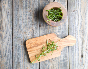 Fresh rosemary on the wood