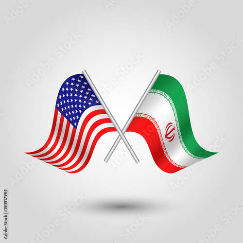 Vector Two Crossed American And Iranian Flags On Silver Sticks