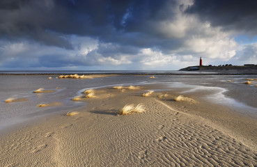 sand beach and lighthouse by North sea Wall mural