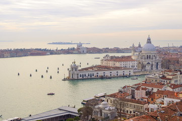Venice aerial cityscape view from San Marco Campanile. Italy