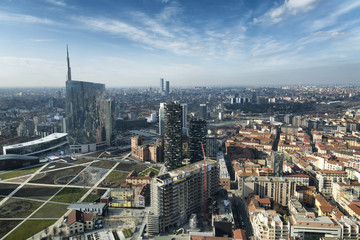 In de dag Milan Milan skyline and view of Porta Nuova business district in Italy