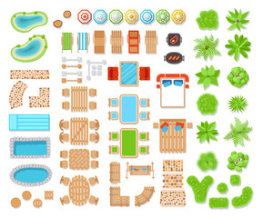 Landscape elements top view