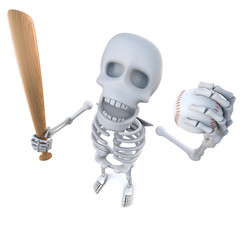 3d Funny cartoon skeleton holding a baseball bat and ball