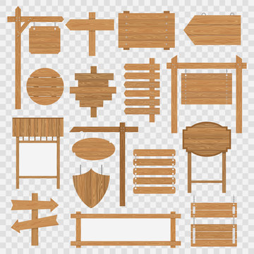 Wooden blank signboards