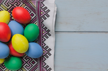 Easter eggs on dishcloth