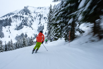 Skier in action, with blurred trees, fast