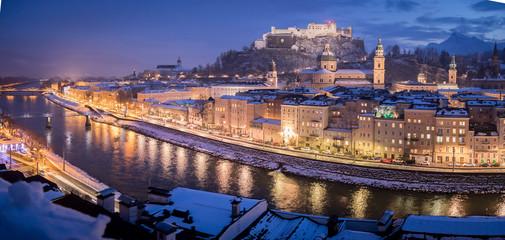 Salzburger Altstadt im Winter, Malerisch, Panorama