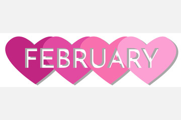 February Single Word With Hearts Banner Vector Illustration 3