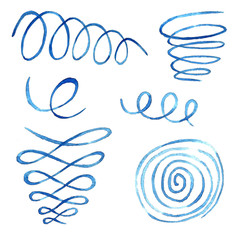 Papiers peints Spirale Watercolor collection of illustrations of spirals and a spring in blue tones.