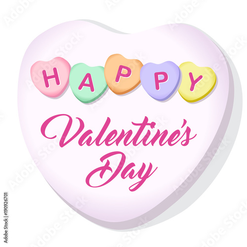Happy Valentines Day Candy Hearts Square Vector Illustration 2