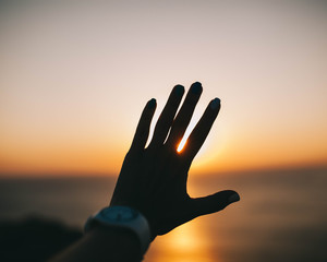 silhouette of hand and arm against the sky and sunset