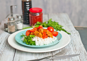 Curry with red fish and vegetables, diet dinner, Indian cuisine.